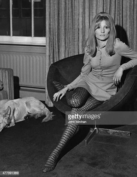 Tina carter modelling a long sleeved belted jersey minidress with a scallop edge button front and lacey woollen tights 2nd January 1968