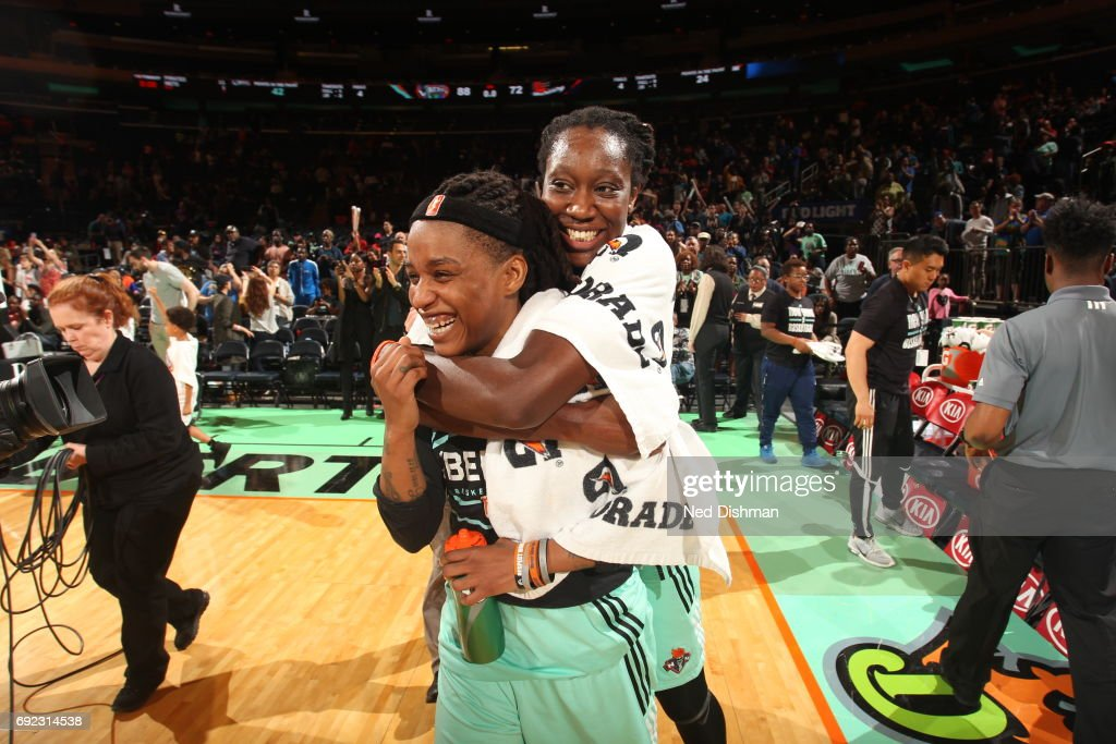 Tina Charles #31 and Shavonte Zellous #1 celebrate after defeating the Phoenix Mercury on June 4, 2017 at Madison Square Garden in New York, New York.
