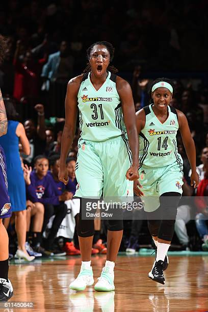 Tina Charles of the New York Liberty celebrates during the game against the Phoenix Mercury during Round Two of the 2016 WNBA Playoffs on September...