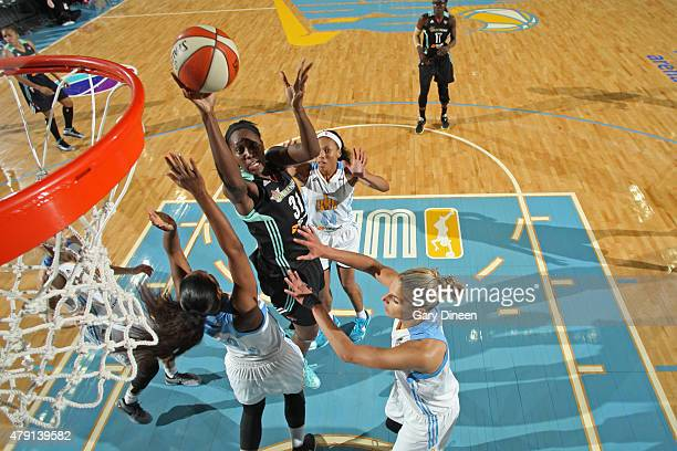 Tina Charles of the New York Liberty drives to the basket against the Chicago Sky on June 30 2015 at the Allstate Arena in Rosemont Illinois NOTE TO...