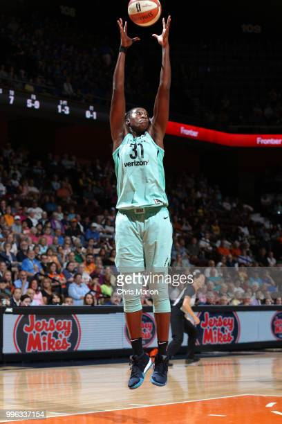 Tina Charles of the New York Liberty grabs the rebound against the Connecticut Sun on July 11 2018 at the Mohegan Sun Arena in Uncasville Connecticut...