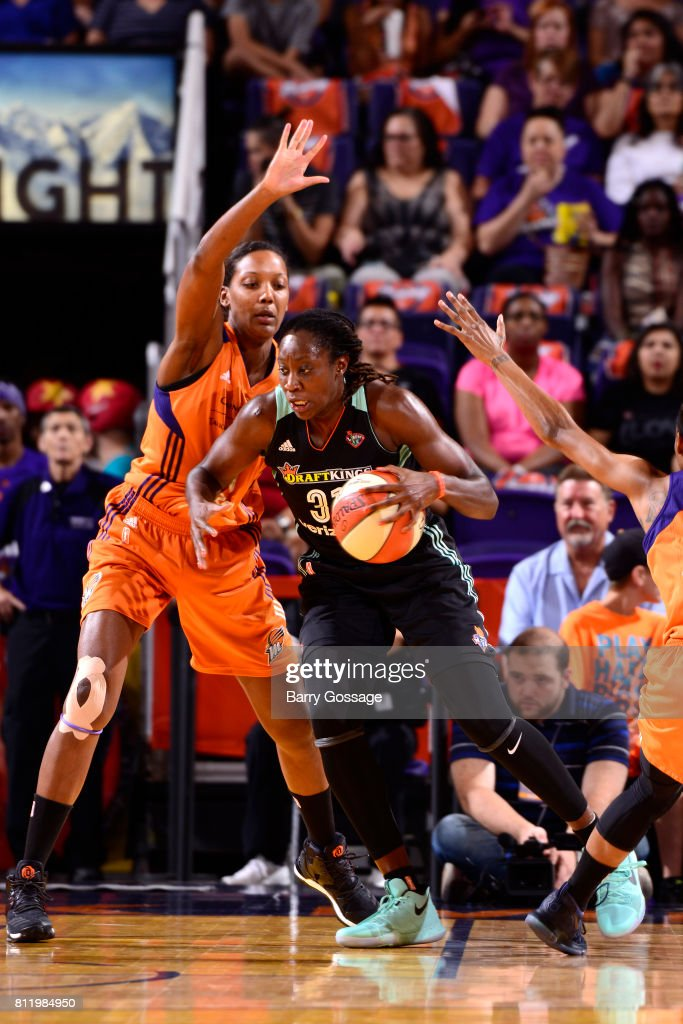 Tina Charles of the New York Liberty handles the ball against the Phoenix Mercury on July 9, 2017 at Talking Stick Resort Arena in Phoenix, Arizona.