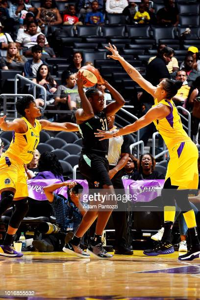 Jantel Lavender of the Los Angeles Sparks passes the ball against the New York Liberty during a WNBA basketball game at Staples Center on August 14...