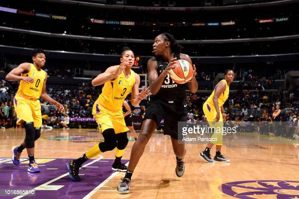 Tina Charles of the New York Liberty handles the ball during the game against the Los Angeles Sparks on August 14 2018 at Staples Center in Los...