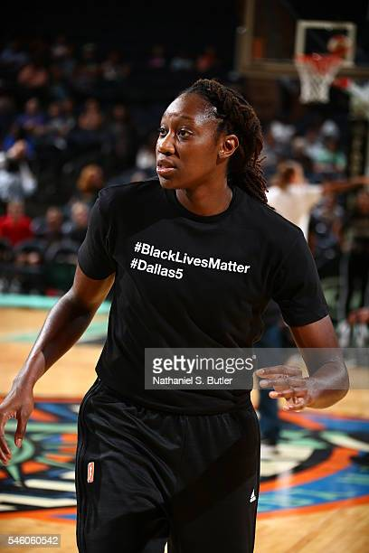 Tina Charles of the New York Liberty is seen before the game against the San Antionio Stars on July 10 2016 at Madison Square Garden in New York New...
