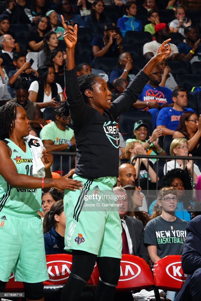 Tina Charles #31 of the New York Liberty reacts during the game against the Indiana Fever during a WNBA game at Madison Square Garden on August 8, 2017 in New York City, New York.