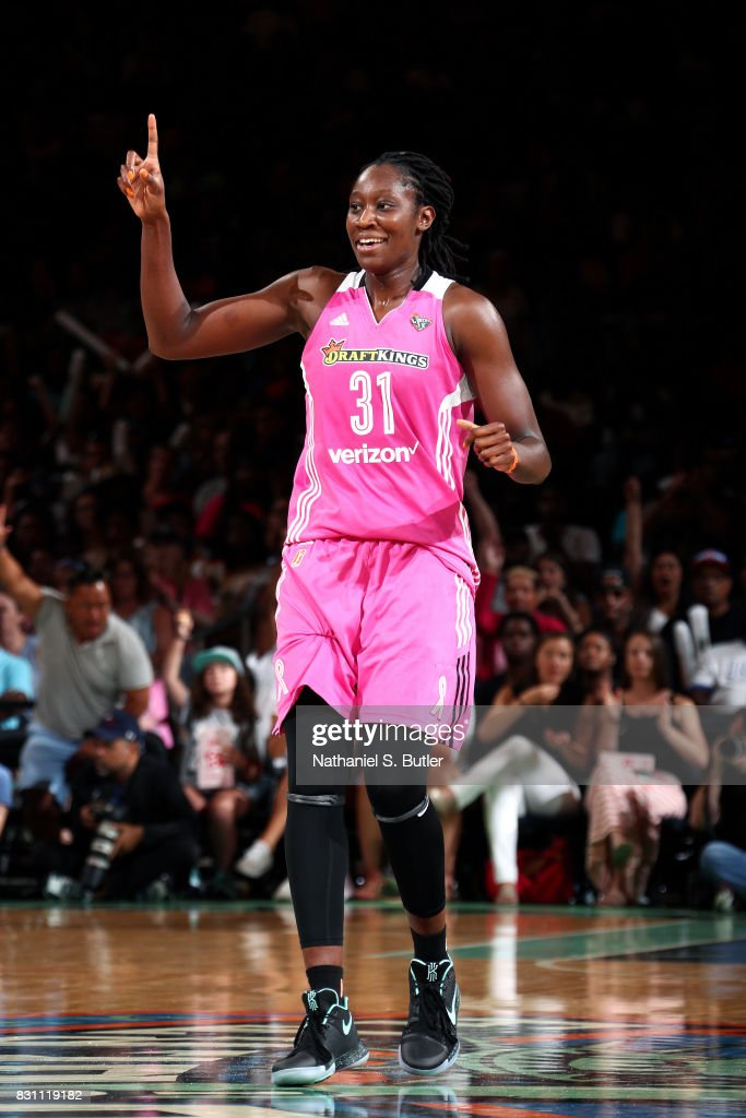 Tina Charles #31 of the New York Liberty reacts during the game against the Los Angeles Sparks during a WNBA game at Madison Square Garden in New York City, New York on August 13, 2017.