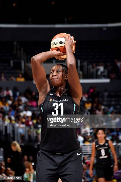 Tina Charles of the New York Liberty shoots the ball during the game against the Los Angeles Sparks on August 14 2018 at Staples Center in Los...