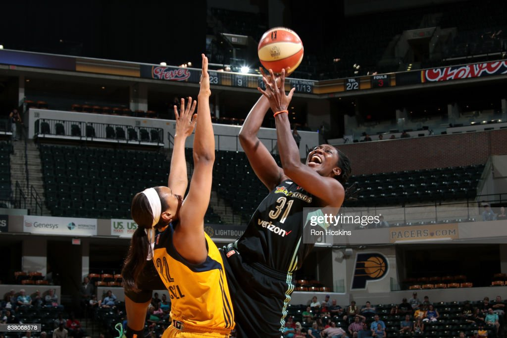 Tina Charles #31 of the New York Liberty shoots the ball during the game against the Indiana Fever during a WNBA game on August 23, 2017 at Bankers Life Fieldhouse in Indianapolis, Indiana.