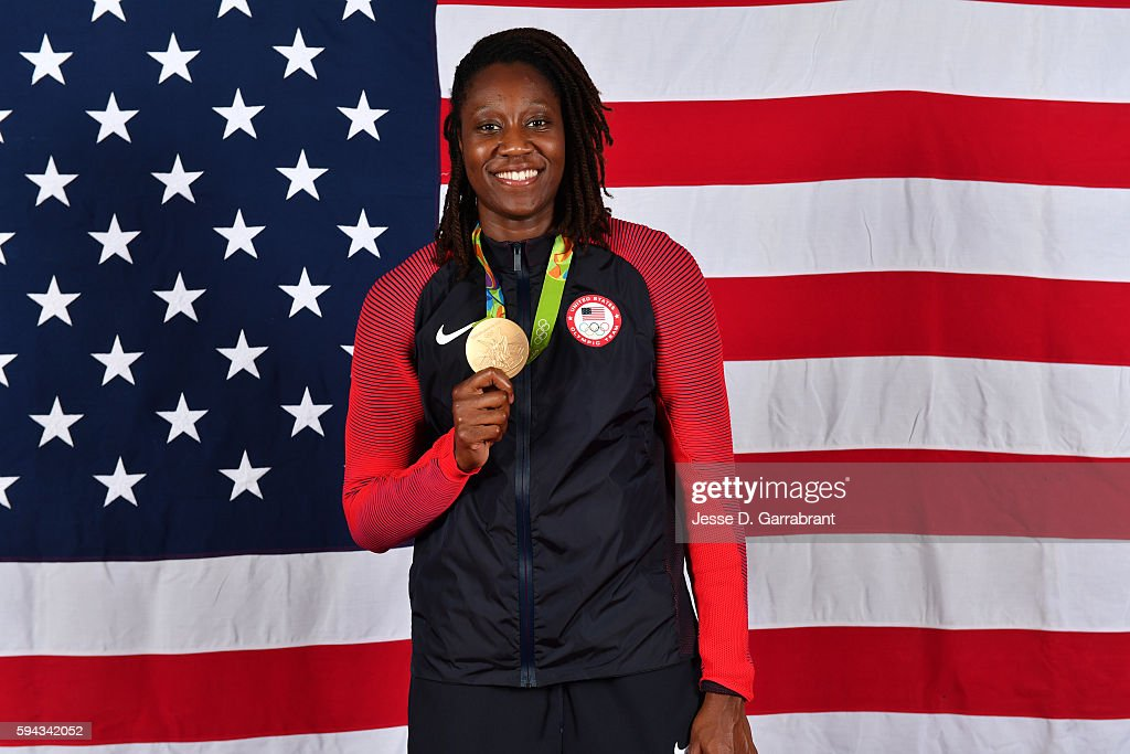 Tina Charles #14 of the USA Basketball Women's National Team poses after winning the Gold Medal at the Rio 2016 Olympic games on August 20, 2016.