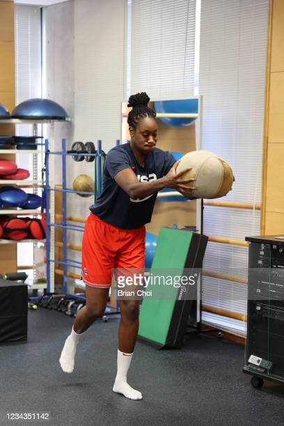 Tina Charles of the USA Women's National Team lifts weights during the USA Basketball Womens National Team practice on July 29, 2021 in Tokyo, Japan....
