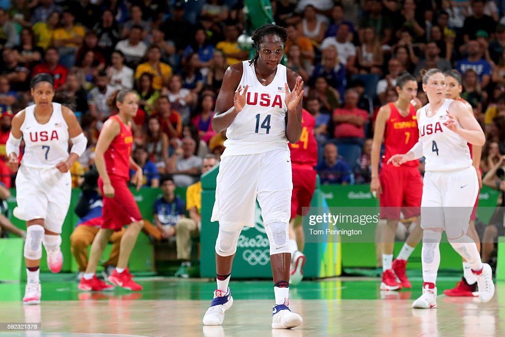 Tina Charles #14 of United States celebrates a play during the Women's Gold Medal Game between United States and Spain on Day 15 of the Rio 2016 Olympic Games at Carioca Arena 1 on August 20, 2016 in Rio de Janeiro, Brazil.