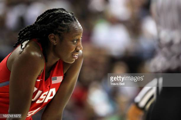 Tina Charles of USA Red looks on during the game against USA White during an exhibition game on September 5, 2018 at the University of South Carolina...
