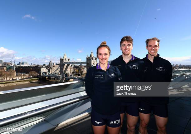 Tina Christmann Ben Landis and Achim Harzheim of Oxford University Boat Club pose for a photo during The Boat Race Crew Announcement 2019 on March 14...