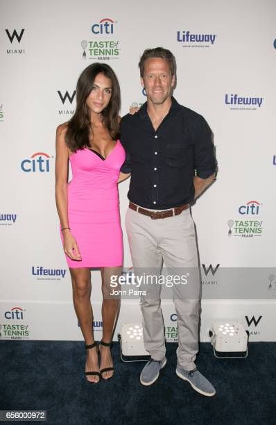 Tina Corinteli and Robert Lindstedt attend the Citi Taste Of Tennis Miami at W Hotel on March 20 2017 in Miami Florida