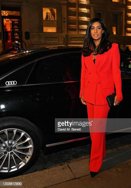 Tina Daheley arrives in an Audi at the GQ Car Awards at Corinthia London on February 03 2020 in London England
