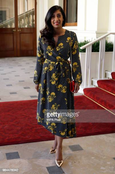 Tina Daheley arrives to attend the Queen's Young Leaders Awards ceremony hosted by Britain's Queen Elizabeth II and Prince Harry Duke of Sussex and...
