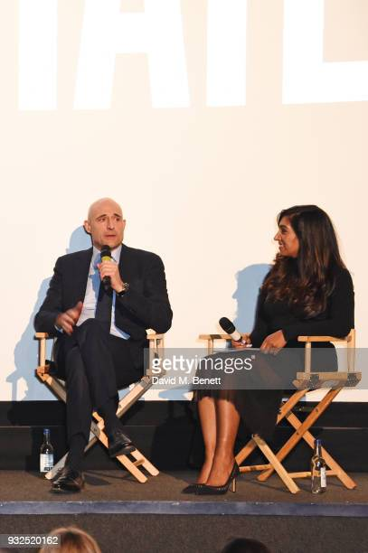 Tina Daheley speaks with cast member Mark Strong at the Global Premiere of Deep State the new espionage thriller from FOX at The Curzon Soho on March...