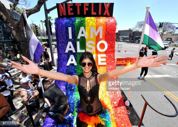 Tina Desai is seen on the Netflix original series Sense8 float at the Los Angeles Pride Parade on June 10 2018 in West Hollywood California