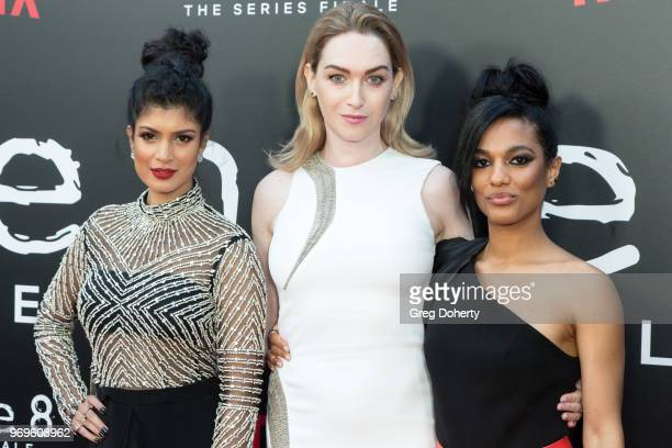 Tina Desai Jamie Clayton and Freema Agyeman attend Netflix's Sense8 Series Finale Fan Screening at ArcLight Hollywood on June 7 2018 in Hollywood...