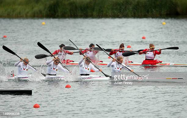 Tina Dietze, Katrin Wagner-Augustin, Franziska Weber and Carolin Leonhardt of Germany compete on their way to winning the Silver medal in the Women's...
