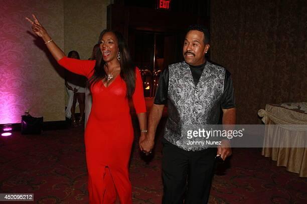 Tina Douglas and KenKaide Thomas Douglas attend Tina's Forever Young Birthday Extravaganza at Crest Hollow Country Club on July 12 2014 in Woodbury...