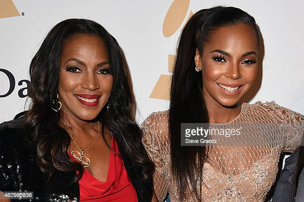 Tina Douglas and recording artist Ashanti attend the PreGRAMMY Gala and Salute To Industry Icons honoring Martin Bandier on February 7 2015 in Los...