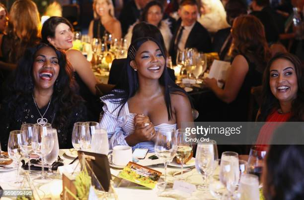 Tina Douglas Ashanti and Dr Geetha Murali attend the 2018 Room to Read New York Gala on May 17 2018 at Kimpton Hotel Eventi in New York City
