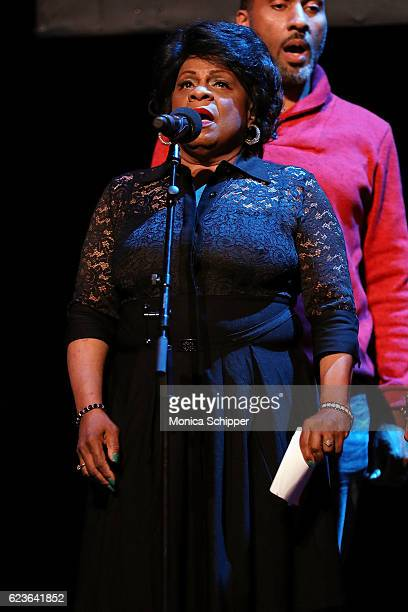 Tina Fabrique performs on stage at 'The First Noel' Sneak Peek at The Apollo Theater on November 16 2016 in New York City