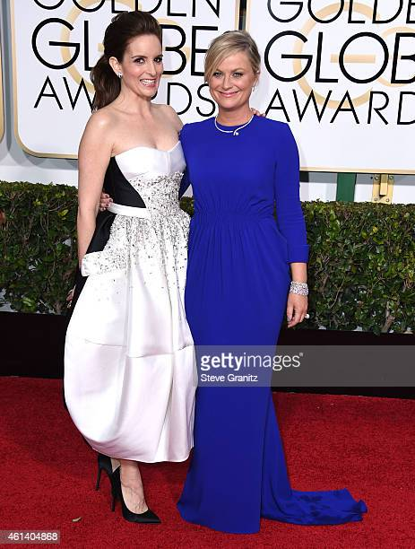 Tina Fey and Amy Poehler arrives at the 72nd Annual Golden Globe Awards at The Beverly Hilton Hotel on January 11, 2015 in Beverly Hills, California.