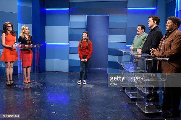 LIVE Tina Fey and Amy Poehler Episode 1692 Pictured Tina Fey Amy Poehler as Helen Walsh Bobby Moynihan as Brian Taran Killam as Steve and Kenan...