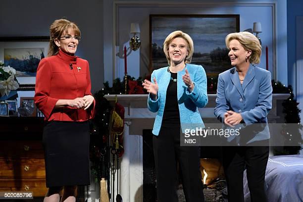 LIVE Tina Fey and Amy Poehler Episode 1692 Pictured Tina Fey as Sarah Palin Kate McKinnon as Hillary Clinton and Amy Poehler as Hillary Clinton...