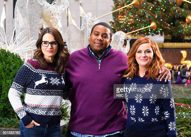 LIVE 'Tina Fey and Amy Poehler' Episode 1692 Pictured Tina Fey Kenan Thompson and Amy Poehler on December 15 2015
