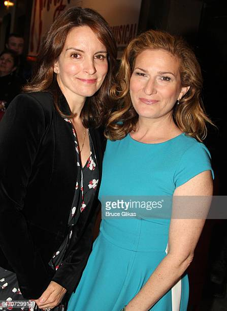 Tina Fey and Ana Gasteyer arrive at the opening night of 'Something Rotten' on Broadway at The St James Theatre on April 22 2015 in New York City