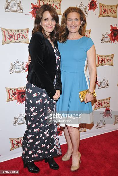 Tina Fey and Ana Gasteyer attend 'Something Rotten' Broadway Opening Night at St James Theatre on April 22 2015 in New York City