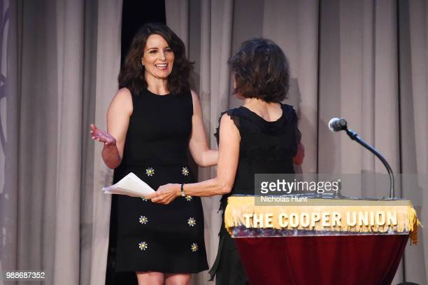 Tina Fey and Andrea Martin attend the Concert For America Stand Up Sing Out at The Great Hall at Cooper Union on June 30 2018 in New York City