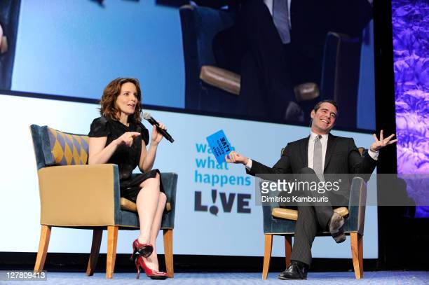 Tina Fey and Bravo's Senior Vice President of Original Programming and Development Andy Cohen speak onstage at the 22nd Annual GLAAD Media Awards...