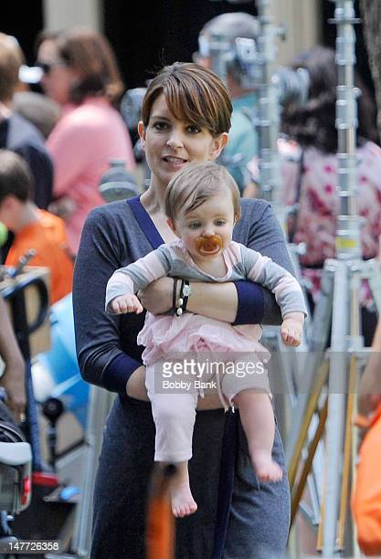 Tina Fey and her daughter Penelope Athena Richmond filming on location for Admission on July 2 2012 in Princeton New Jersey