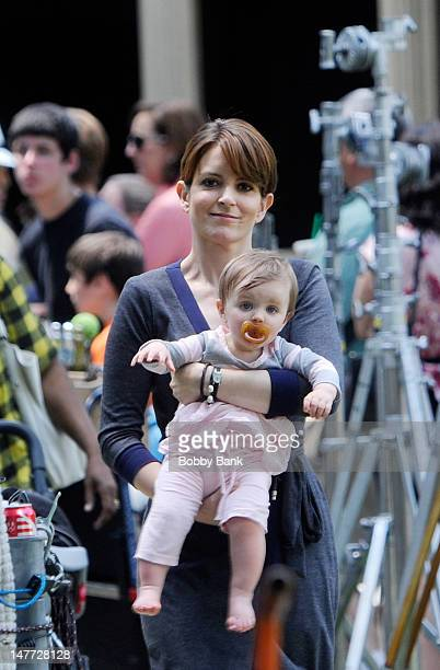 Tina Fey and her daughter Penelope Athena Richmond filming on location for 'Admission' on July 2 2012 in Princeton New Jersey