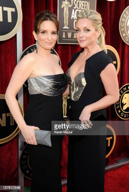 Tina Fey and Jane Krakowski arrive at The 18th Annual Screen Actors Guild Awards broadcast on TNT/TBS at The Shrine Auditorium on January 29, 2012 in...