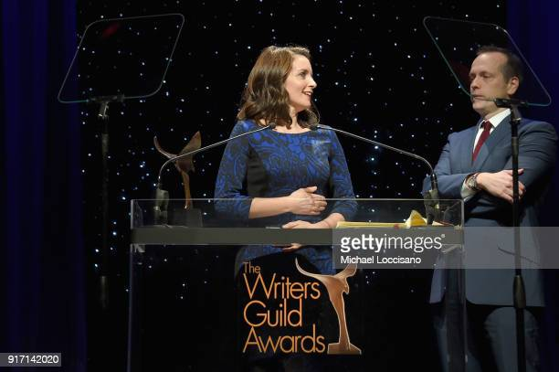 Tina Fey and Robert Carlock speak onstage during the 70th Annual Writers Guild Awards New York at Edison Ballroom on February 11 2018 in New York City
