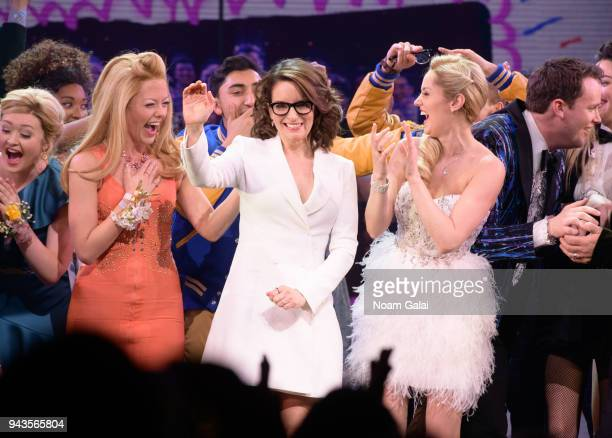 Tina Fey and the cast of Mean Girls take the stage during the Mean Girls on Broadway opening night at the August Wilson Theatre on April 8 2018 in...