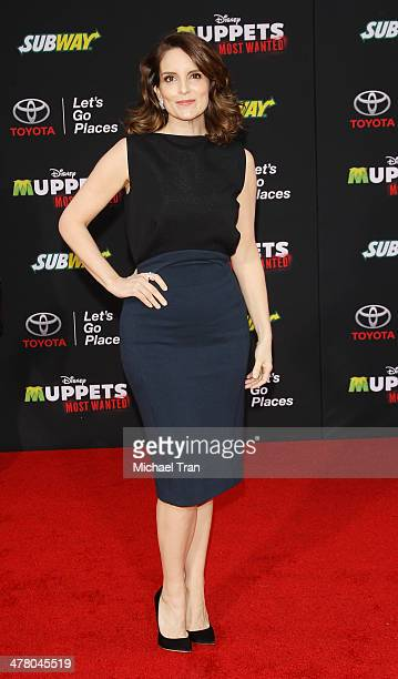 """Tina Fey arrives at the Los Angeles premiere of """"Muppets Most Wanted"""" held at the El Capitan Theatre on March 11, 2014 in Hollywood, California."""