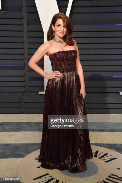 Tina Fey attends the 2019 Vanity Fair Oscar Party hosted by Radhika Jones at Wallis Annenberg Center for the Performing Arts on February 24 2019 in...