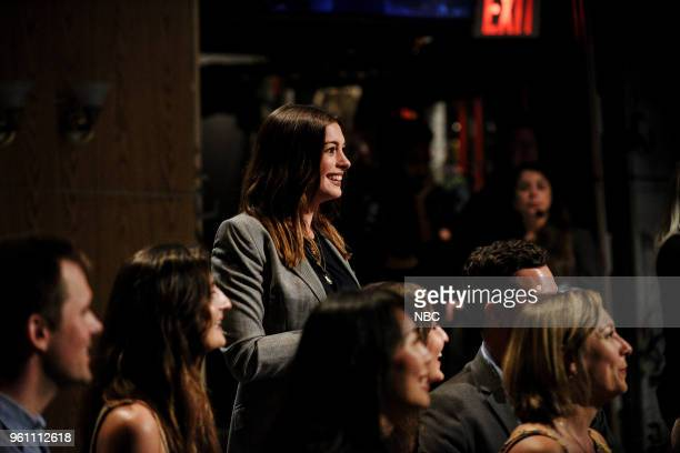 LIVE 'Tina Fey' Episode 1746 Pictured Anne Hathaway during the 'Opening Monologue' in Studio 8H on Saturday May 19 2018