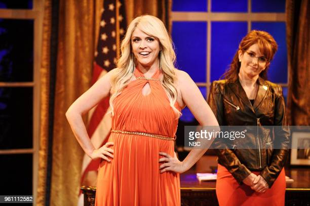 LIVE Tina Fey Episode 1746 Pictured Cecily Strong as Stormy Daniels Tina Fey as Sarah Palin during Sarah Palin Advice in Studio 8H on Saturday May 19...