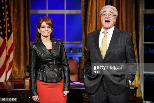 LIVE Tina Fey Episode 1746 Pictured Tina Fey as Sarah Palin John Goodman as Rex Tillerson during Sarah Palin Advice in Studio 8H on Saturday May 19...