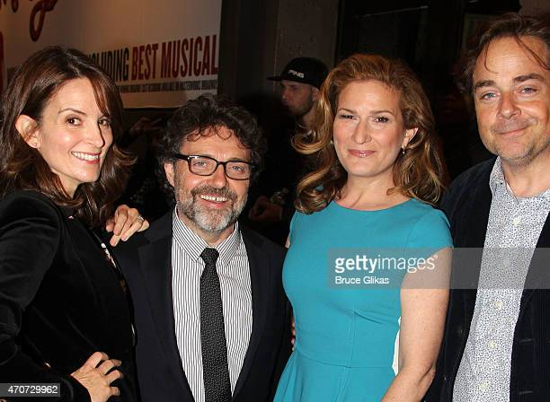 """Tina Fey, Jeff Richmond, Ana Gasteyer and Charlie McKittrick arrive at the opening night of """"Something Rotten!"""" on Broadway at The St. James Theatre..."""