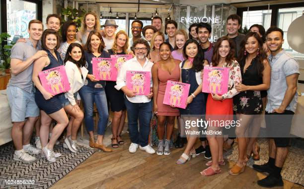 Tina Fey Jeff Richmond and Nell Benjamin with the cast attend the 'Mean Girls' Original Broadway Cast Linyl Release at the Herald Square Urban...