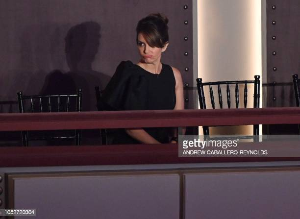 Tina Fey jokingly reacts as she arrives for the show honoring Julia LouisDreyfus at the 21st Annual Mark Twain Prize for American Humor at the...